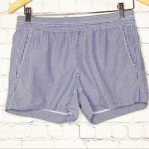 J. Crew Gray and White Pinstripe Pull On Shorts